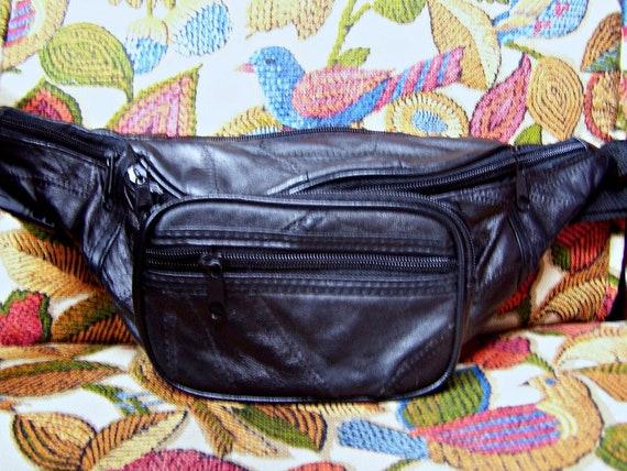 Fanny Pack Leather Black Hands Free Belt Bag Unise