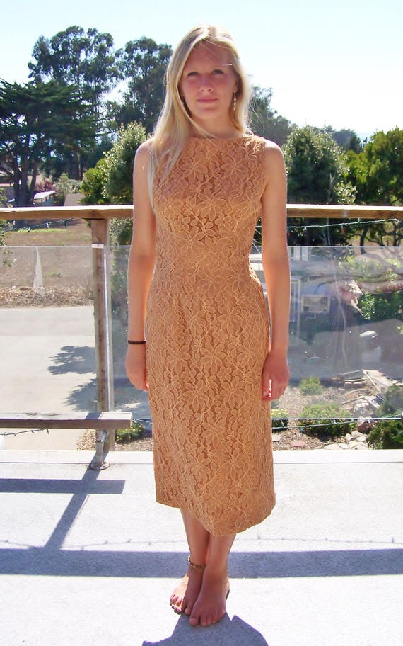 60s Lace Dress Boatneck Sleeveless Champagne Rust