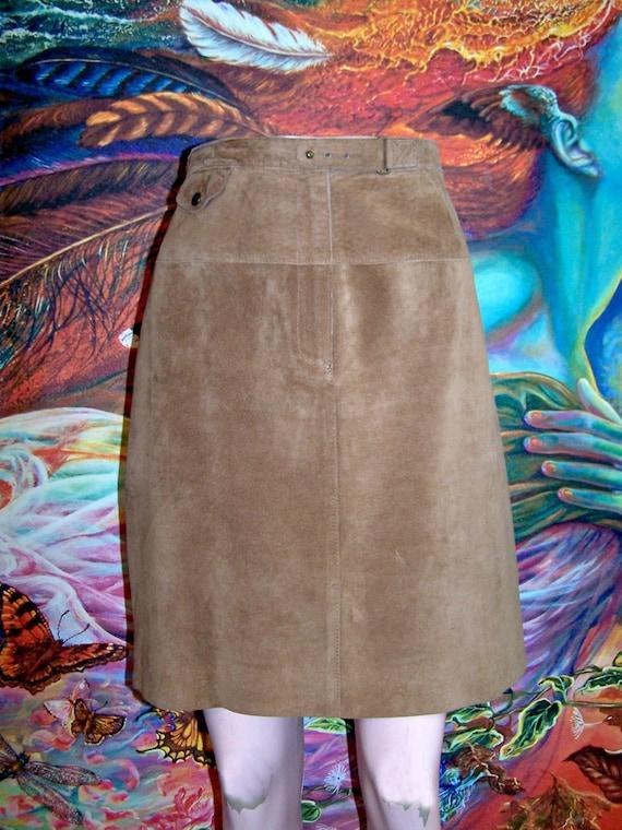 Designer Suede skirt Ralph Lauren brown leather sk