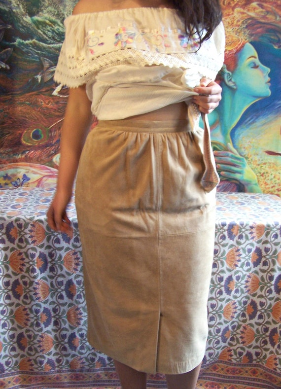 Suede skirt Tan Leather Brown Skirt size 8