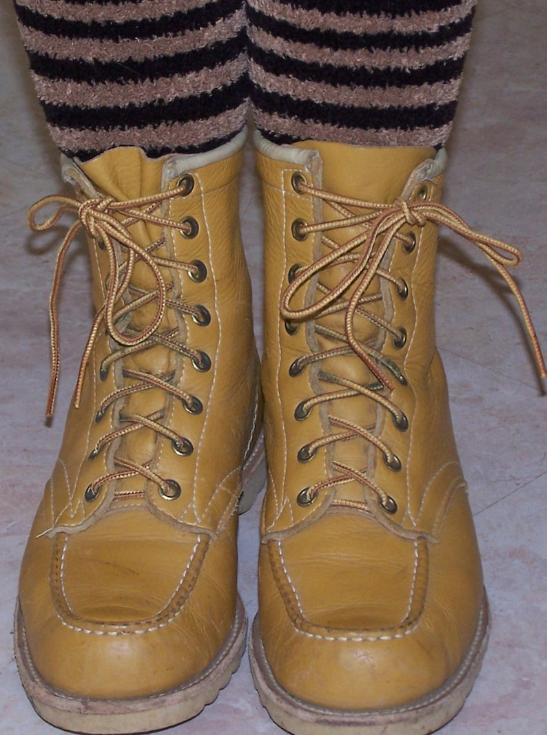 Chukka Boot Leather Tan Lace up 60s work boot size 8
