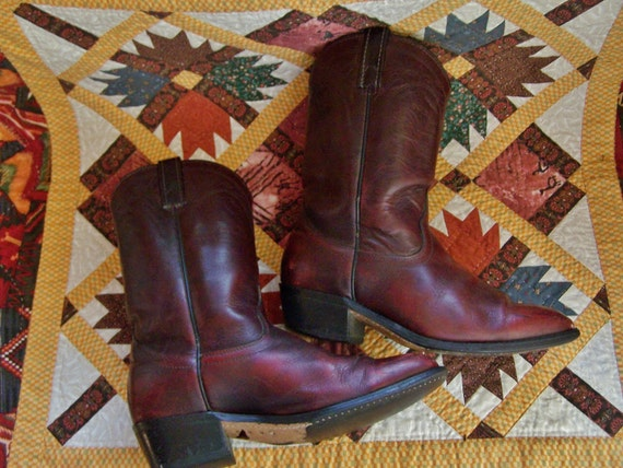 Western Boots Brown Leather Rich Cognac men 8 wome