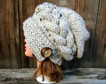 Cloche Hat Women, Chunky Knit Beanie, Slouchy Cable Knit Hat, Winter Hat For Women, Slouchy Beanie Hat, Oatmeal Hat, MADE TO ORDER