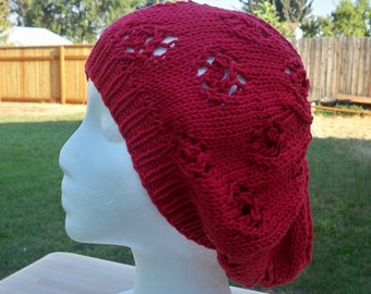 Knit Eyelet Slouch Hat In Ruby