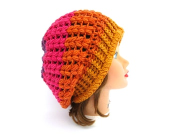 Crochet Slouchy Beanie Hat In Funfetti, Crochet Hat, Women's Hat, Slouchy Tam Beret, Winter Hats For Women, Crochet Beanie, Women's Beanie