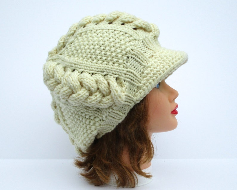 PDF PATTERN ONLY Cable Knit Hat Pattern Newsboy Hat  ad72ab1b55e