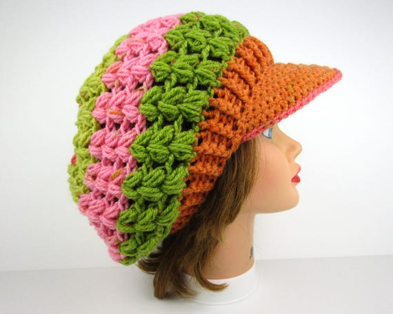 a106da74b30 Crochet Hat With Visor Newsboy Hat Crochet Beanie With Brim