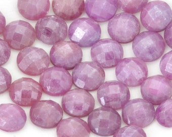 Pink Ruby Cabochons 8mm Round   Rose Cut Round Ruby Cabochons   8mm Round Natural Ruby Cabochons   Checkerboard Cut Round Ruby Cabochons