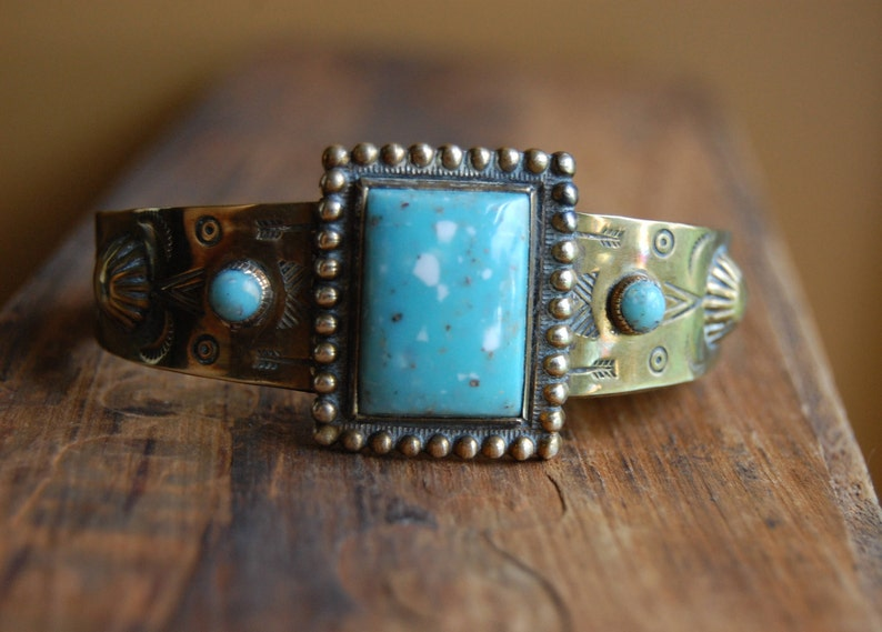 Vintage Southwestern Stamped Brass Cuff Metal Bracelet  image 0