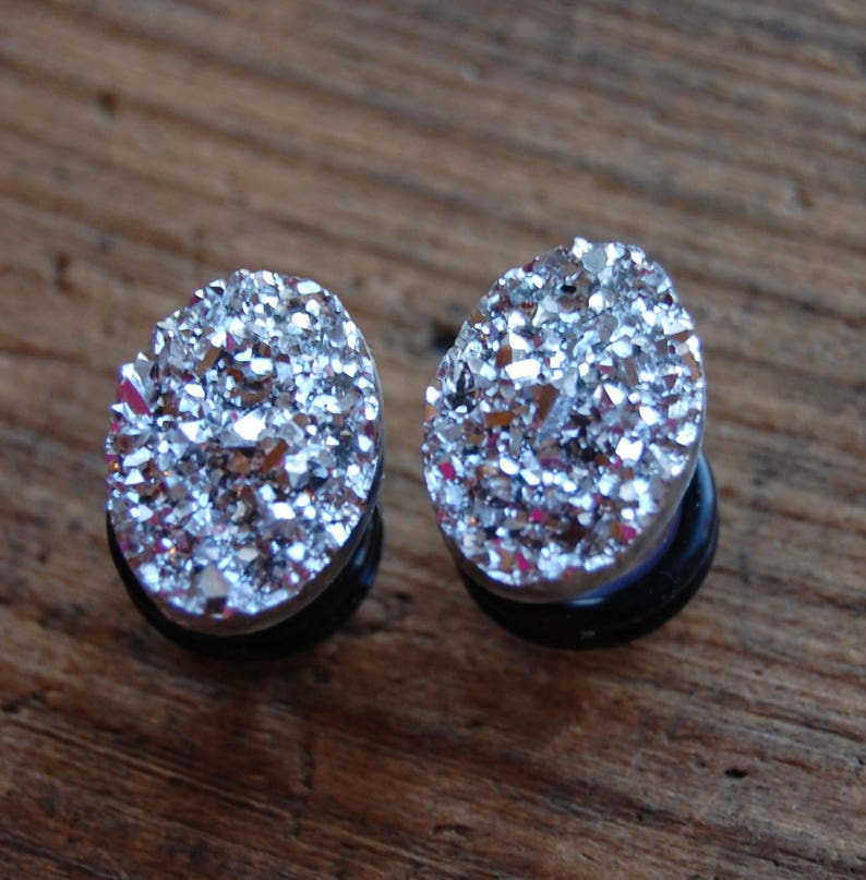Bright Silver Oval Shaped Faux Druzy Rough Crystal Plugs Gauges| Wedding  Plugs | Sparkle| Choose Size 0g (8mm), 00g (10mm) Half Inch 12mm