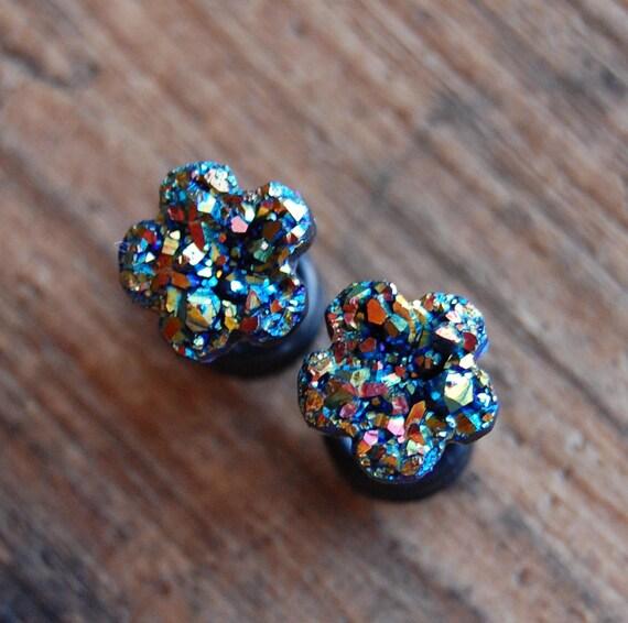 4G - 1 Inch - New! Black Steel Plugs With Aqua Druzy Stone Sizes // Gauges