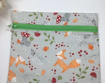 Re-usable sandwich bag - food safe - foxes PRICE INCLUDES SHIPPING within Canada