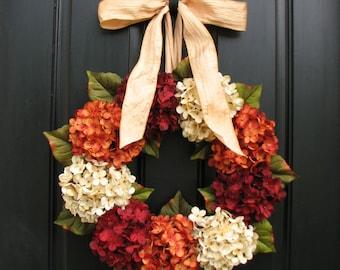 Fall Hydrangea Wreath, Etsy Autumn Wreaths for Front Door, Twoinspireyou Wreaths