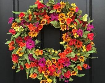 Spring door wreaths etsy spring summer door decor spring wreath for front door spring flower wreath wreaths for spring spring door wreaths multi colored wreath mightylinksfo