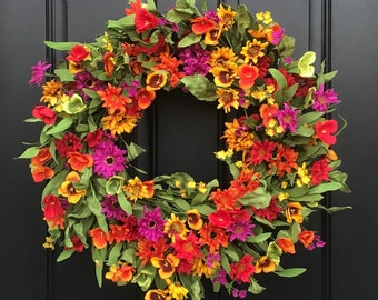 Spring Summer Door Decor, Spring Wreath for Front Door, Spring Flower Wreath, Wreaths for Spring, Spring Door Wreaths, Multi Colored Wreath