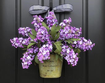 Lilac Wreaths, Purple Lilac Flowers, Spring Flowers, Summer Bouquet, Spring Wall Pocket, Lilac Bucket, Artificial Lilac Wreaths