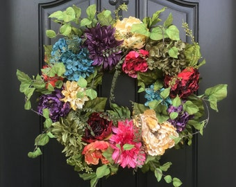 Flower Garden Wreath, SUMMER FIESTA, Summer Wreath, Summer Hydrangea Wreaths, Multi Colored Wreath, Party Decor, Summer Door Wreaths