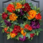 """24"""" Fall Peony Wreath for Front Porch Decor, Festive Fall Wreath, Autumn Colored Door Hanging, Premium Fall Wreaths"""