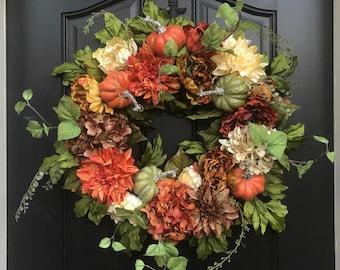 FALL Pumpkin Door Wreath with Fall Flowers
