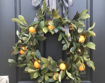 CITRUS WREATHS, Oranges Wreath, Wreath With Oranges, Taste of Summer, Artificial Orange Wreath, Spring Door Wreaths,
