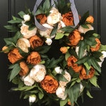 Coffee and Cream Premium Fall Peony Wreath, Black and White Ribbon for Wreath
