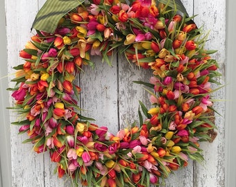 NEW Orange, Fuchsia and Yellow Tulips, Front Door Tulip Wreath, Tulip Wreath for Door, Door Wreath Tulips, Orange Tulips Door Wreaths