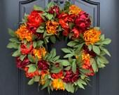 Fall Wreath for Front Door, Vibrant Fall Peony Wreath for Front Door