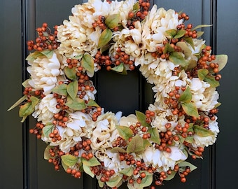 NEW Autumn Front Door Wreaths for 2020, Fall Rust Berry Wreath with Cream Peony Flowers,