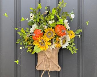 Sunflower and Pumpkin Burlap Basket for Front Door, Fall Door Wreaths