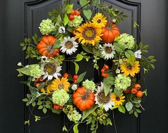 Sunflower Pumpkin Wreath for Fall