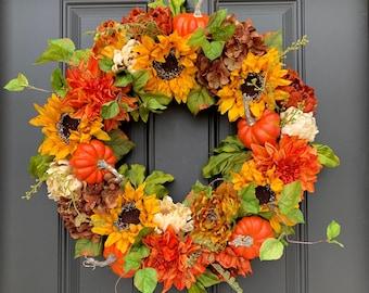 NEW FALL SUNFLOWER Wreaths for Front Door, Autumn Decor, Thanksgiving Decor