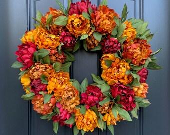 Fall Front Door Wreaths, Thanksgiving Wreaths, Burnt Orange and Merlot Fall PEONY Wreath
