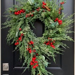 Christmas Wreaths for Front Door, Artificial Holiday Pine Wreath with Red Berries