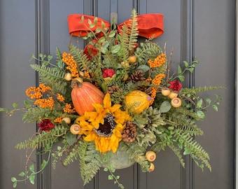 NEW Fall Door Hanger, Sunflower and Fern Fall Bucket for Door