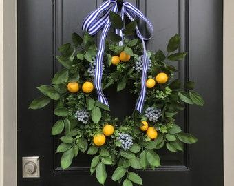 Front Porch Wreaths, SUMMER WREATHS, Lemons and Blueberry Wreath, Yellow Lemons Wreath, Boxwood and Lemons, Summer Door Wreaths