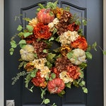 Fall Pumpkin Wreath, XL Fall Wreaths, Fall Oval Wreaths, Fall Wreath with Pumpkins, Fall Hydrangea Wreaths, Autumn Decor, Fall Door Wreaths