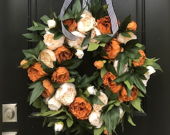 Fall Front Door Wreaths, Coffee and Cream Premium Peony Wreath, Black and White Ribbon for Wreath