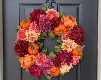 Fall Orange Pumpkin Wreath for Front Door - Colorful Fall Hydrangea Hanger