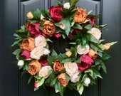 Peony Wreath for Front Door