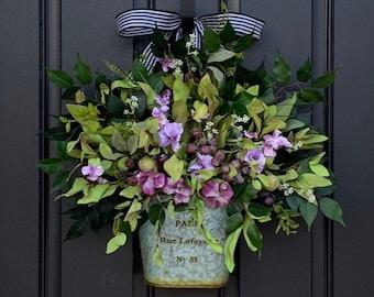 Everyday Door Hanging, Summer Buckets for Front Doors, Purple Pansy Basket, Summer Door Pocket, Floral Door Container, Paris Decor