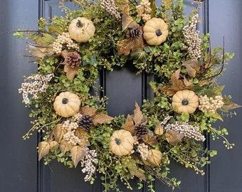 NEW Fall Farmhouse Style Wreath, Autumn Decor, Pumpkin and Gourd Wreath, Twoinspireyou