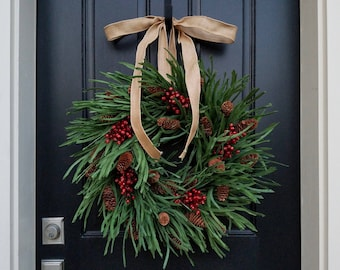 christmas wreath for front door holiday wreath with pinecones and red berries holiday decor front door christmas wreath christmas decor
