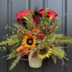 Fall Fern Galvanized Bucket with Sunflowers, Pinecones and Gourds