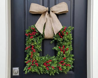 christmas boxwood square wreath holiday boxwood wreath square boxwood wreath christmas decor artificial boxwood wreath red berry wreath - Window Wreaths Christmas Decorations