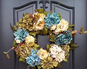 Front Porch Wreath, Spring Door Wreath, Spring Wreaths, Summer Wreath,  Wreath For Spring, Blue Hydrangea Wreath, Everyday Wreaths