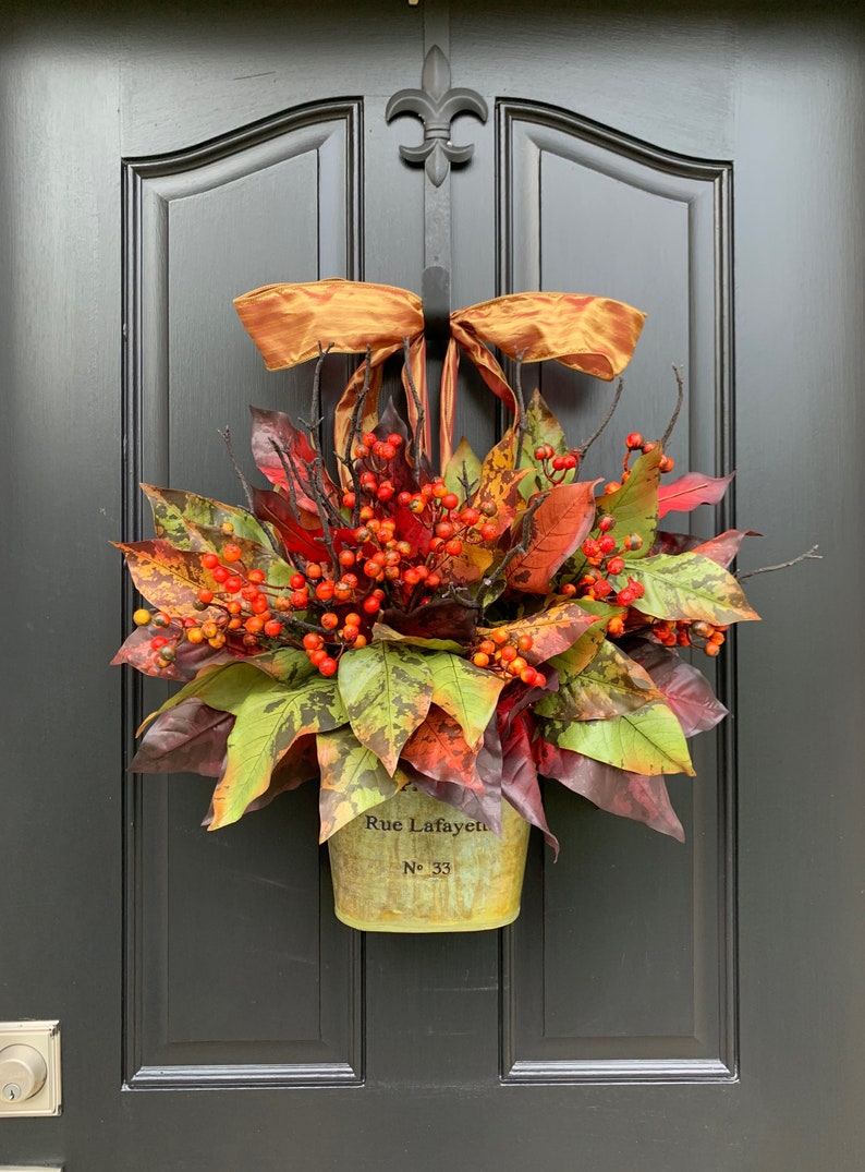 Fall Door Container with Colorful Fall Leaves and Berries image 0