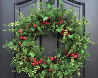 Red Berry Wreath, Christmas Red Berry Wreath, Holiday Home Decor, Evergreen and Pine Wreath, Artificial Christmas Wreath, Christmas Wreath