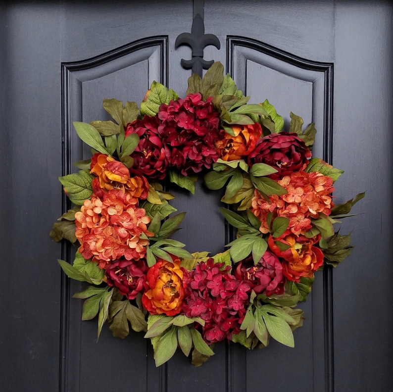 Fall Red and  Burnt Orange Peony and Hydrangea Wreath image 0
