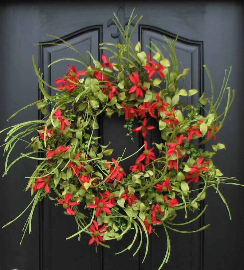Summer Wreath Red Daisy Wreath Summer Front Door Wreath Etsy
