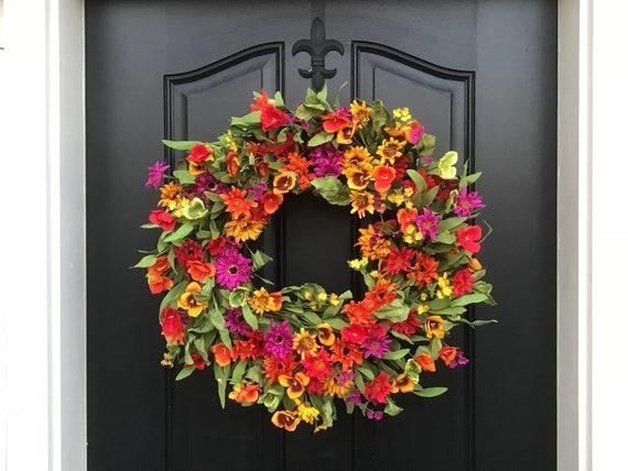 Spring summer door decor spring wreath for front door spring etsy image 0 mightylinksfo